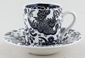 Burleigh Regal Peacock black Espresso Cup and Saucer