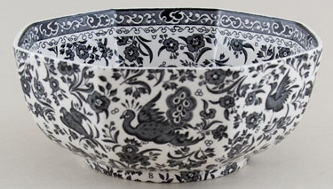Burleigh Regal Peacock black Bowl octagonal