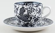 Burleigh Regal Peacock black Teacup and Saucer