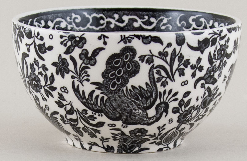 Burleigh Regal Peacock black Sugar Bowl large