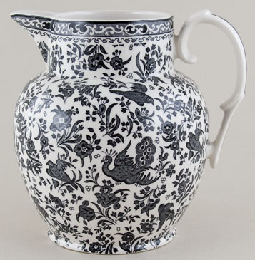 Burleigh Regal Peacock black Jug or Pitcher Etruscan large