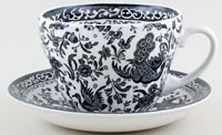 Burleigh Regal Peacock black Breakfast Cup and Saucer
