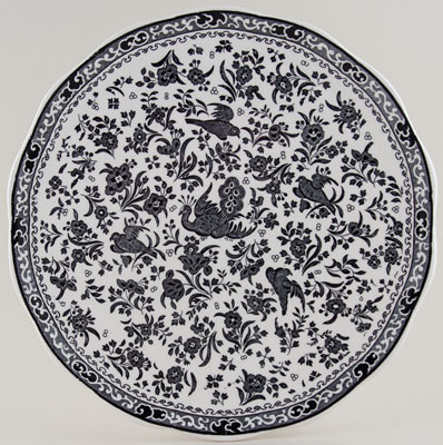 Burleigh Regal Peacock black Cake Plate