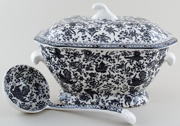 Burleigh Regal Peacock black Soup Tureen with Ladle