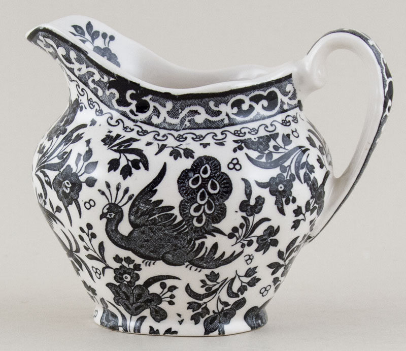 Burleigh Regal Peacock black Jug or Creamer