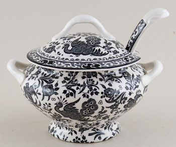 Burleigh Regal Peacock black Sauce Tureen with Ladle