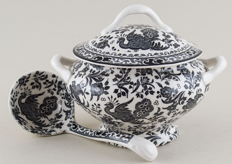 Burleigh Regal Peacock black Sauce Tureen and Ladle
