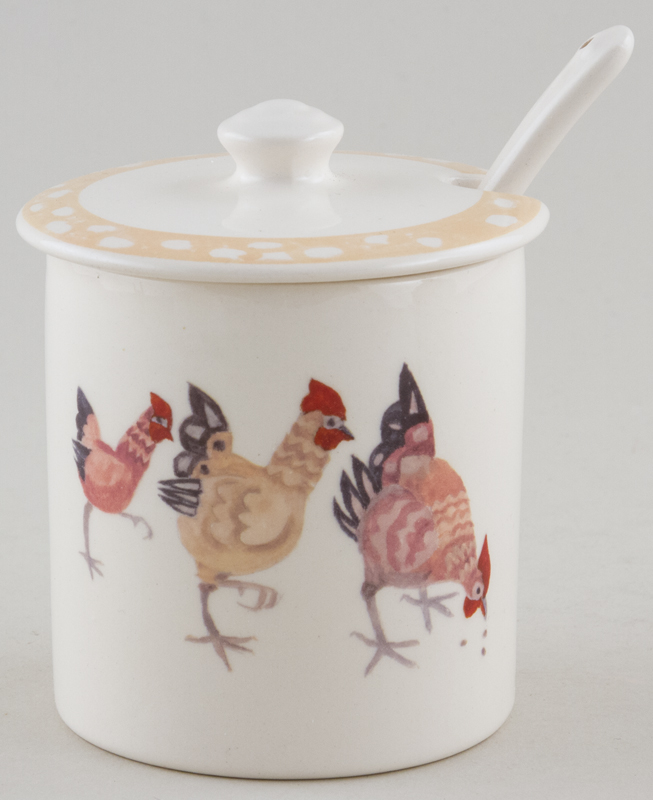 Burleigh Rosies Hens colour Jam or Preserve Pot with Spoon