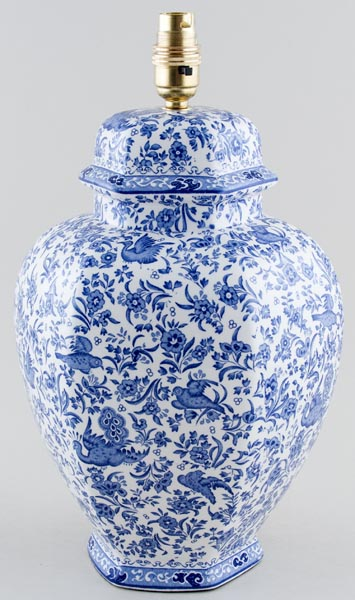 Burleigh Regal Peacock Lamp Base Hexagonal Lovers Of Blue And White