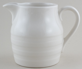 Burleigh White Ironstone Jug or Pitcher Hooped Churn