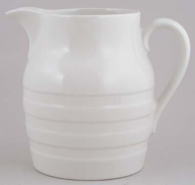 Burleigh White Ironstone Jug Or Pitcher Hooped Churn Lovers Of