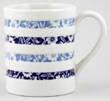 Burleigh White Ironstone Mug Hooped Blue