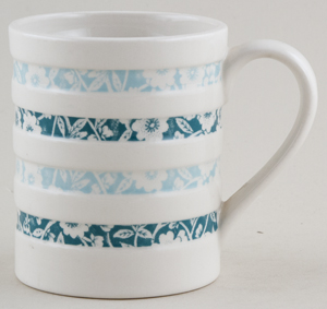 Burleigh White Ironstone Mug Hooped Jade