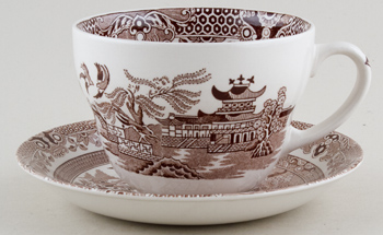 Burleigh Willow brown Breakfast Cup and  Saucer