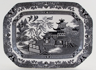 Burleigh Willow black Meat Dish or Platter rectangular small