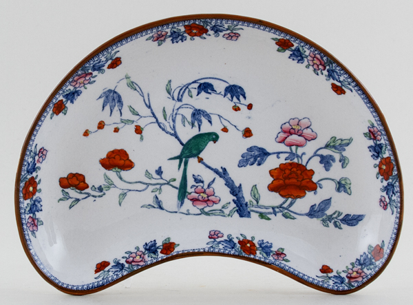 Booths Parrot blue with colour Crescent Side Dish c1920s