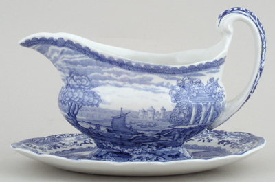 Booths Old Blue Danube Sauce Boat with Fixed Stand c1930s