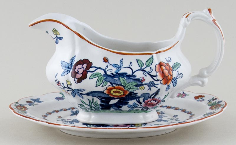 Booths The Pompadour blue with colour Sauce Boat with Stand c1950s