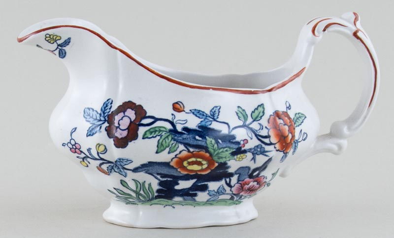 Booths The Pompadour blue with colour Sauce Boat c1950s