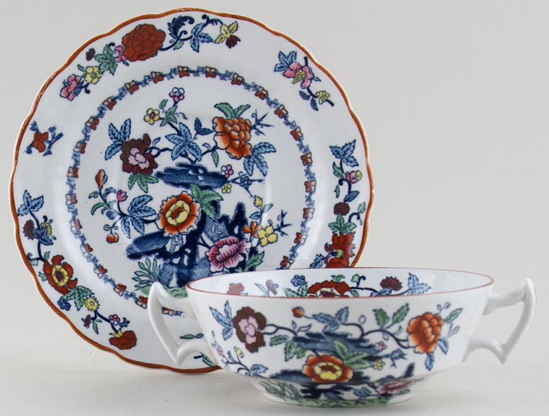 Booths The Pompadour blue with colour Soup Cup and Saucer c1950s