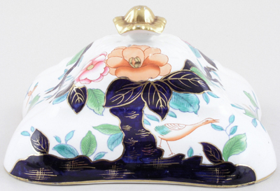 Booths Oriental Tree colour Vegetable Dish Cover c1920s
