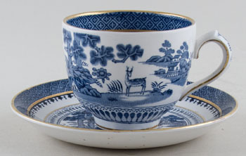 Booths Lowestoft Deer Teacup and Saucer c1950s