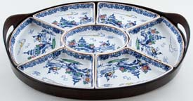 Booths Pagoda blue with colour Hors d'oeuvres Set c1930