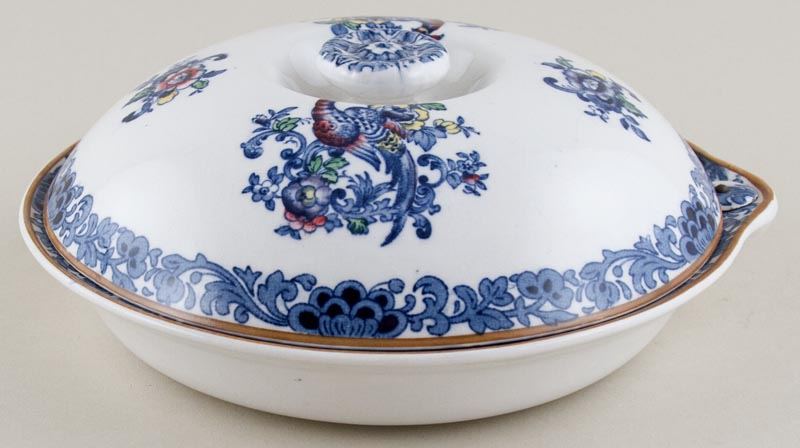 Booths The Pheasant blue with colour Warming Dish c1930