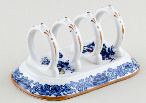 Booths The Pheasant blue with colour Toast Rack c1930
