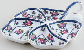 Booths Goodes Floral colour Hors d'Oeuvres Dish c1930