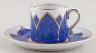 Booths Powder Blue Lily Coffee Can and Saucer c1930