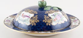 Booths Scale Blue colour Muffin Dish c1920