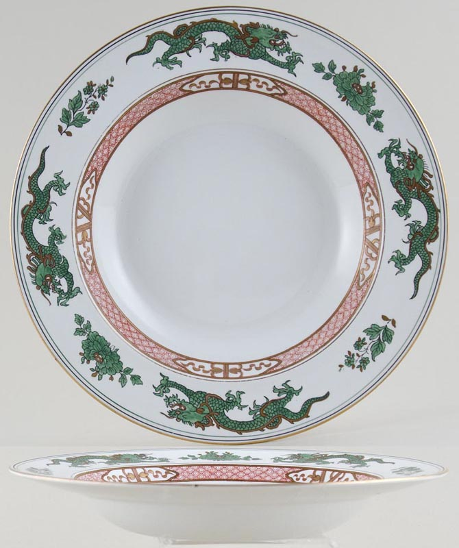 Booths Dragon green Soup Plate c1920