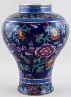 Booths Jacobean blue with colour Vase c1920s