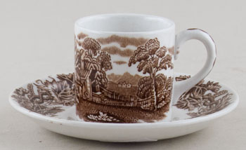 Booths British Scenery brown Coffee Can and Saucer c1950s