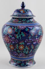 Booths Jacobean blue with colour Vase lidded c1920s