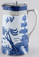 Booths Real Old Willow Jug or Pitcher Hot Water with pewter cover c1930s