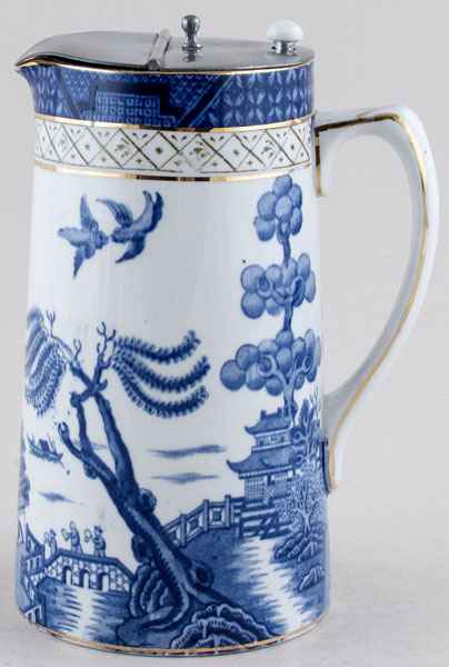 Booths Real Old Willow Jug or Pitcher Hot Water with cover c1930