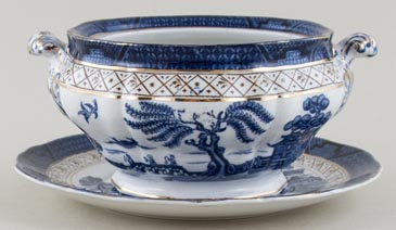 Booths Real Old Willow Sauce Tureen c1930