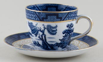 Booths Real Old Willow Coffee Cup and Saucer c1920s
