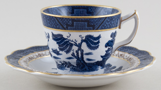 Booths Real Old Willow Coffee Cup and Saucer c1950s