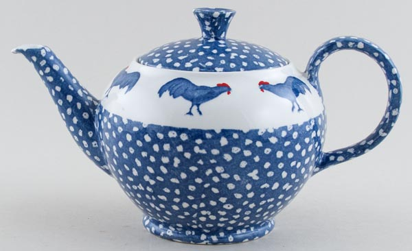 Burleigh Chanticleer blue with colour Teapot c1990s
