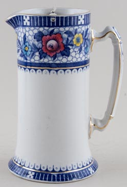 Burgess and Leigh Premier blue with colour Hot Water Jug or Pitcher c1920s