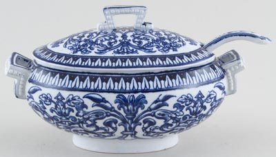 Brown Westhead Moore Teutonic Sauce Tureen with Ladle c1900