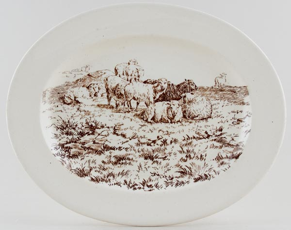 Brown Westhead Moore Pastoral brown Platter c1880