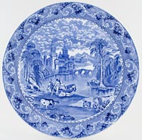 Cauldon Blue Moore Wall Plaque large c1930