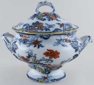Cauldon Unidentified Pattern colour Soup Tureen c1900