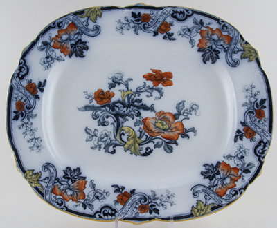 Cauldon Unidentified Pattern colour Meat Dish or Platter and Drainer c1900