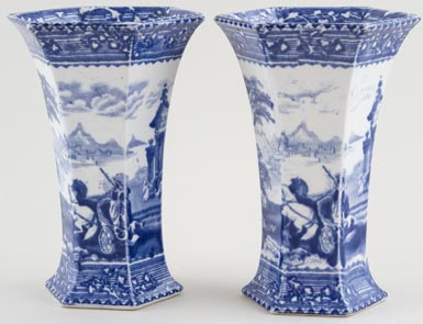 Wardle Arcadian Chariots Vases pair of c1900