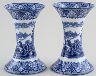Cauldon Chariot Vases pair of small c1930
